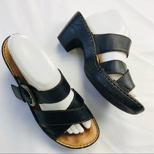 Born Samila Black Leather Buckle Open Toe Sandals